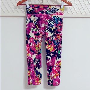 ADIDAS Climalite Floral Abstract Cropped Leggings